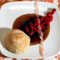 Almond Buttermilk Biscuits with Sour Cherry Compote, Butterscotch, and Candied Pickled Ginger