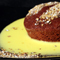 Amaretto Brownies with Saffron Creme Anglaise and Bee Pollen Spice Mix